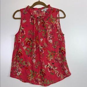 Rose & Olive I Red Floral Blouse Size Medium